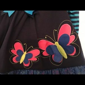 New Girls Rare Editions 9M Navy Turquoise BUTTERFLY Leggings Set